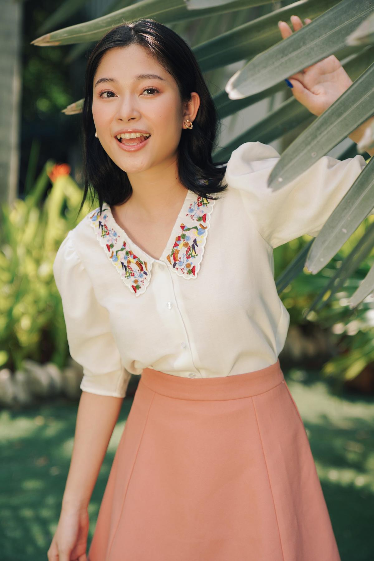 Chân váy hồng A Rib Midi Skirt