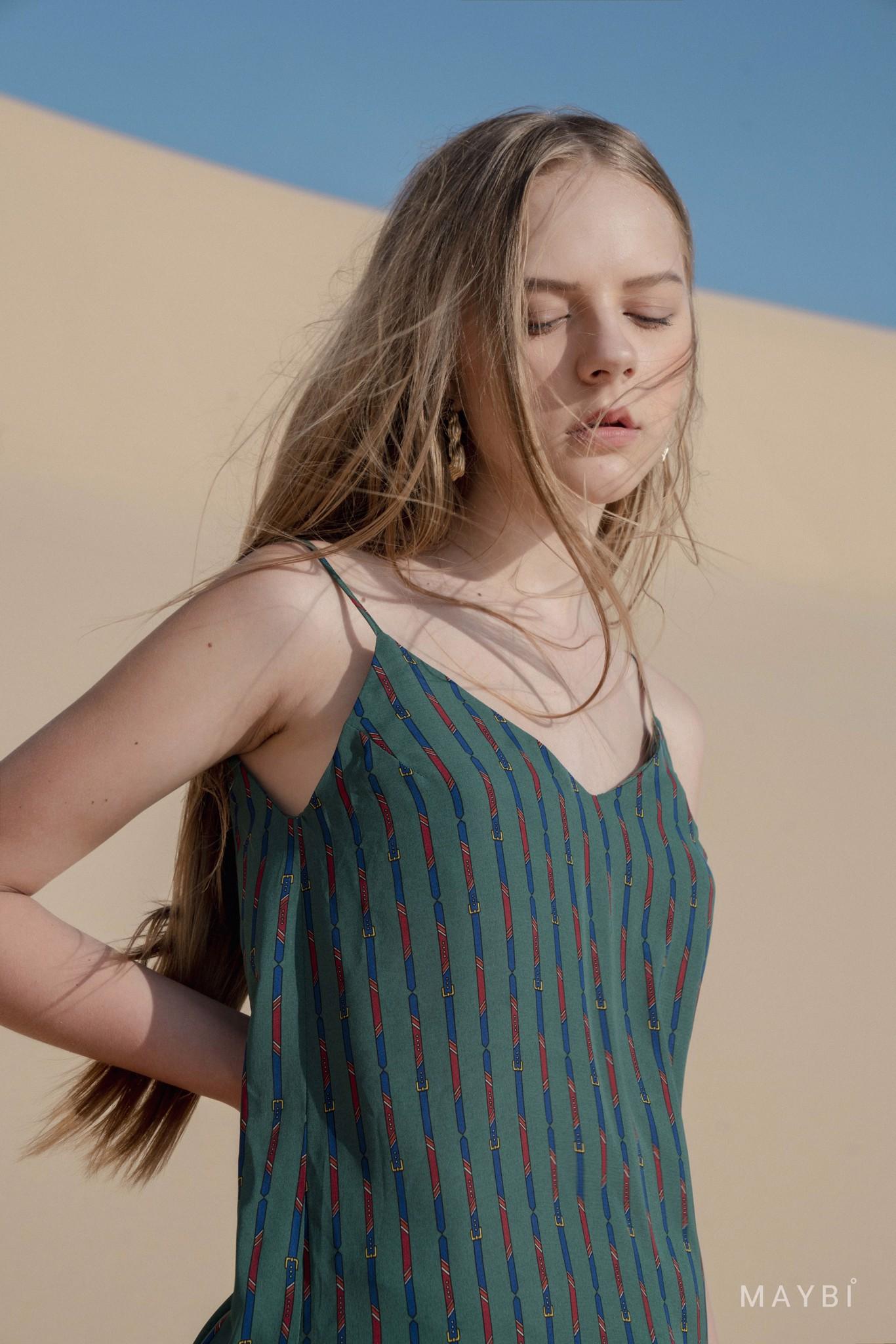 Đầm 2 dây xanh họa tiết  - Greenie Dress