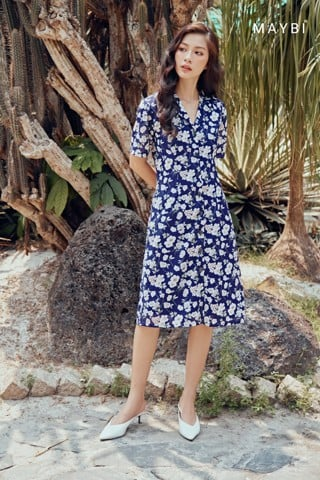Đầm cổ Danton - Junie Blue Dress
