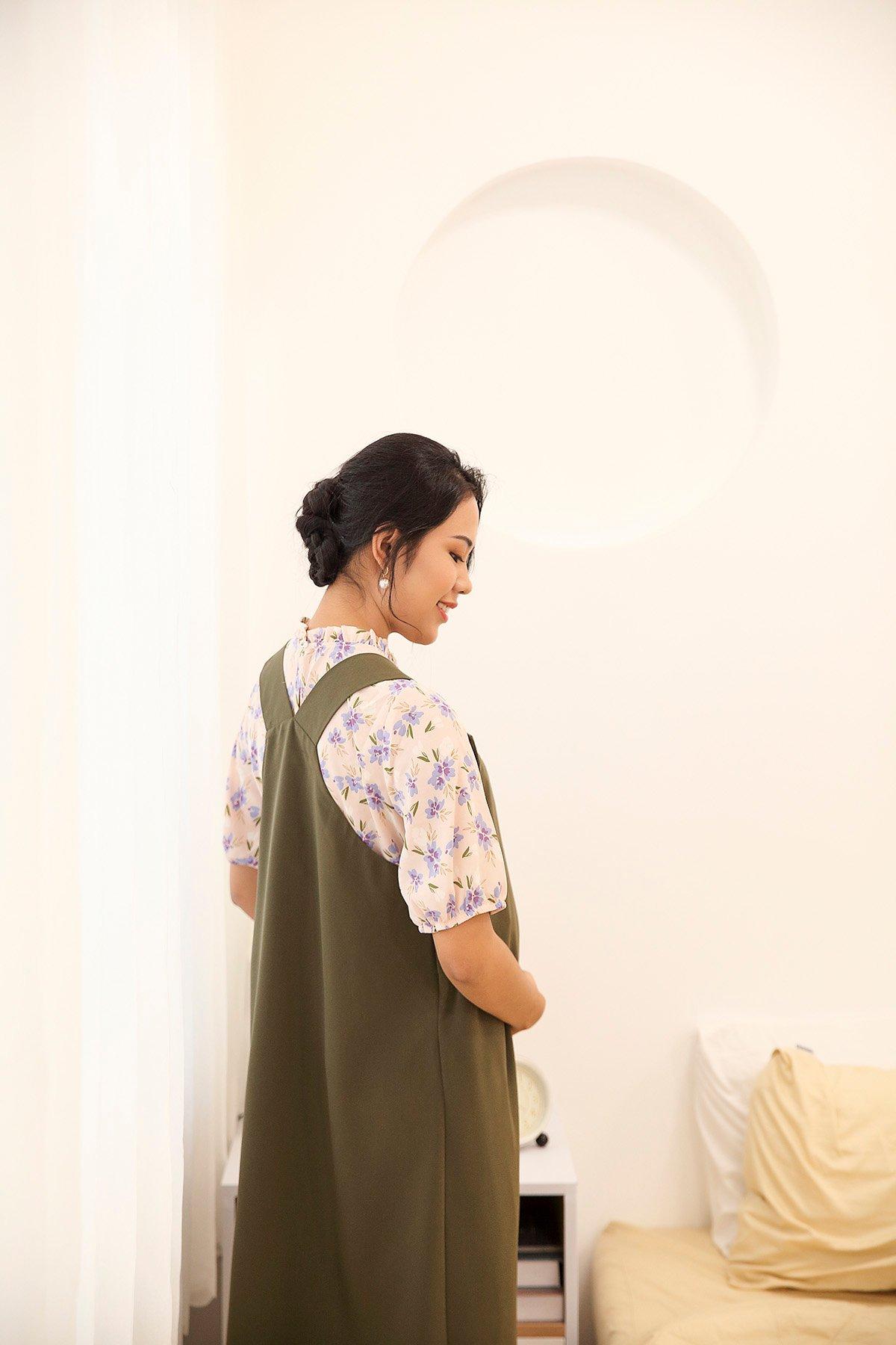 Áo nhún cổ tay phồng Tuber Floral Top