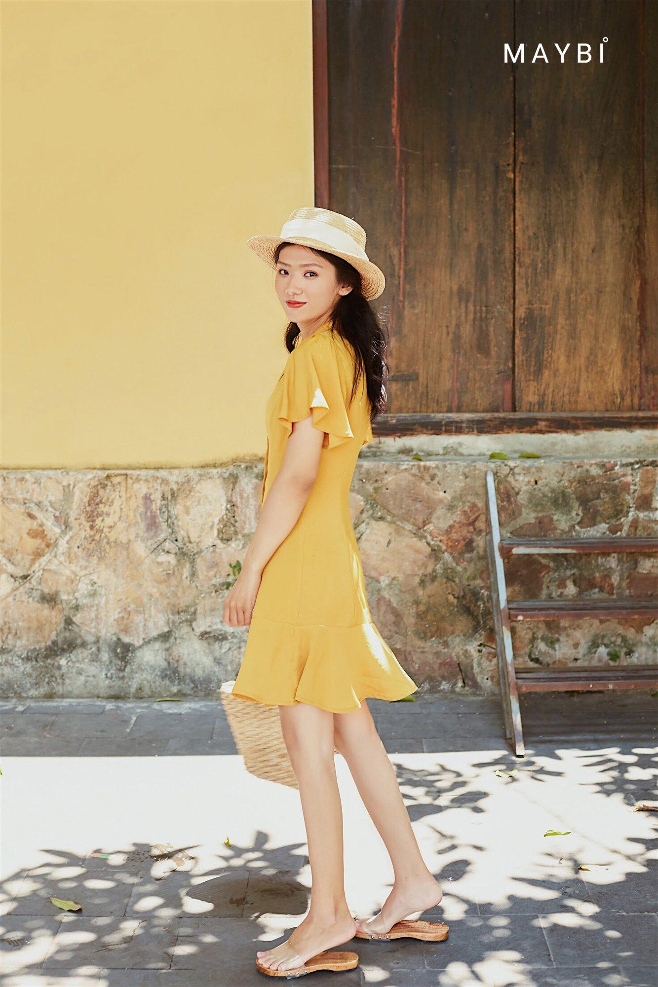 Đầm vàng cổ Danton - Kumquat Dress
