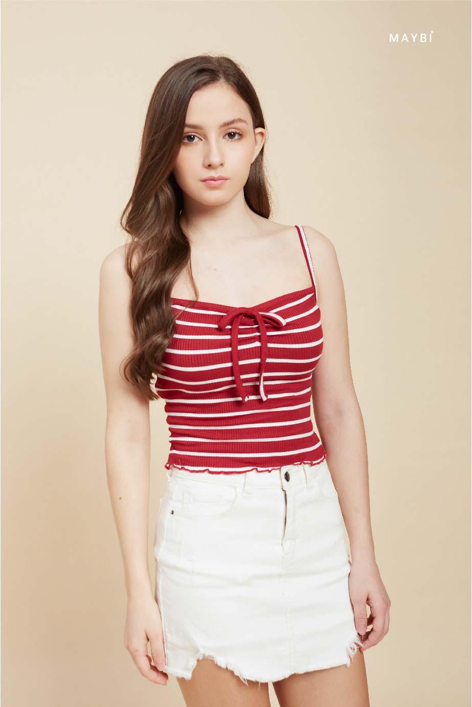 Áo thun 2 dây nhún ngực sọc trắng đỏ