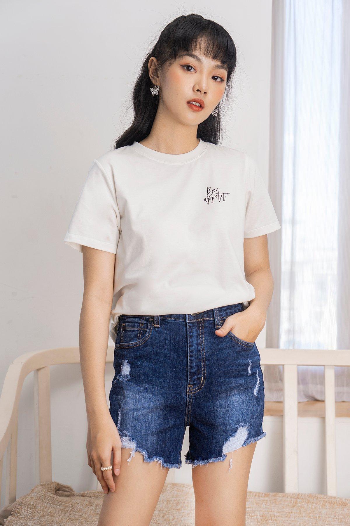 Quần short jean xanh đậm