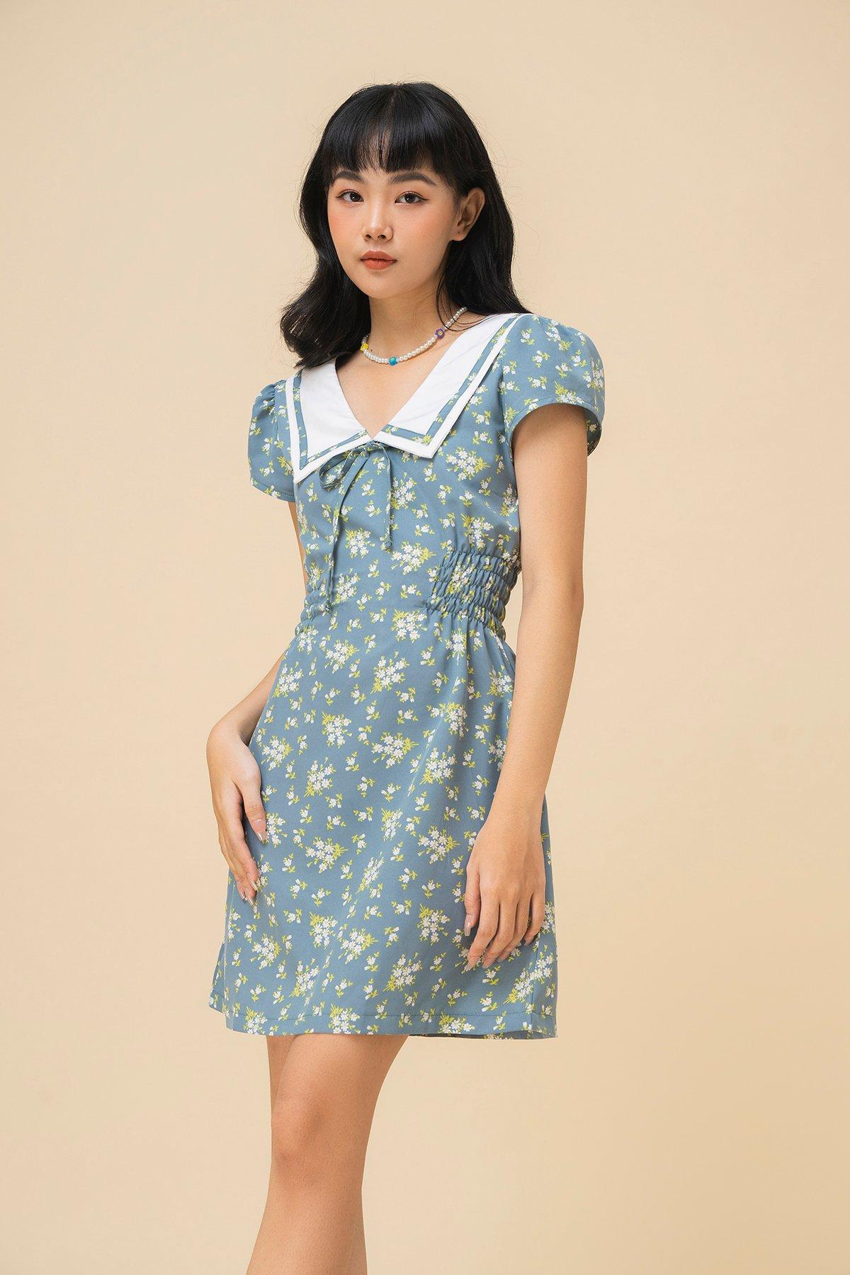 Đầm hoạ tiết hoa cổ lá sen Sailor dress