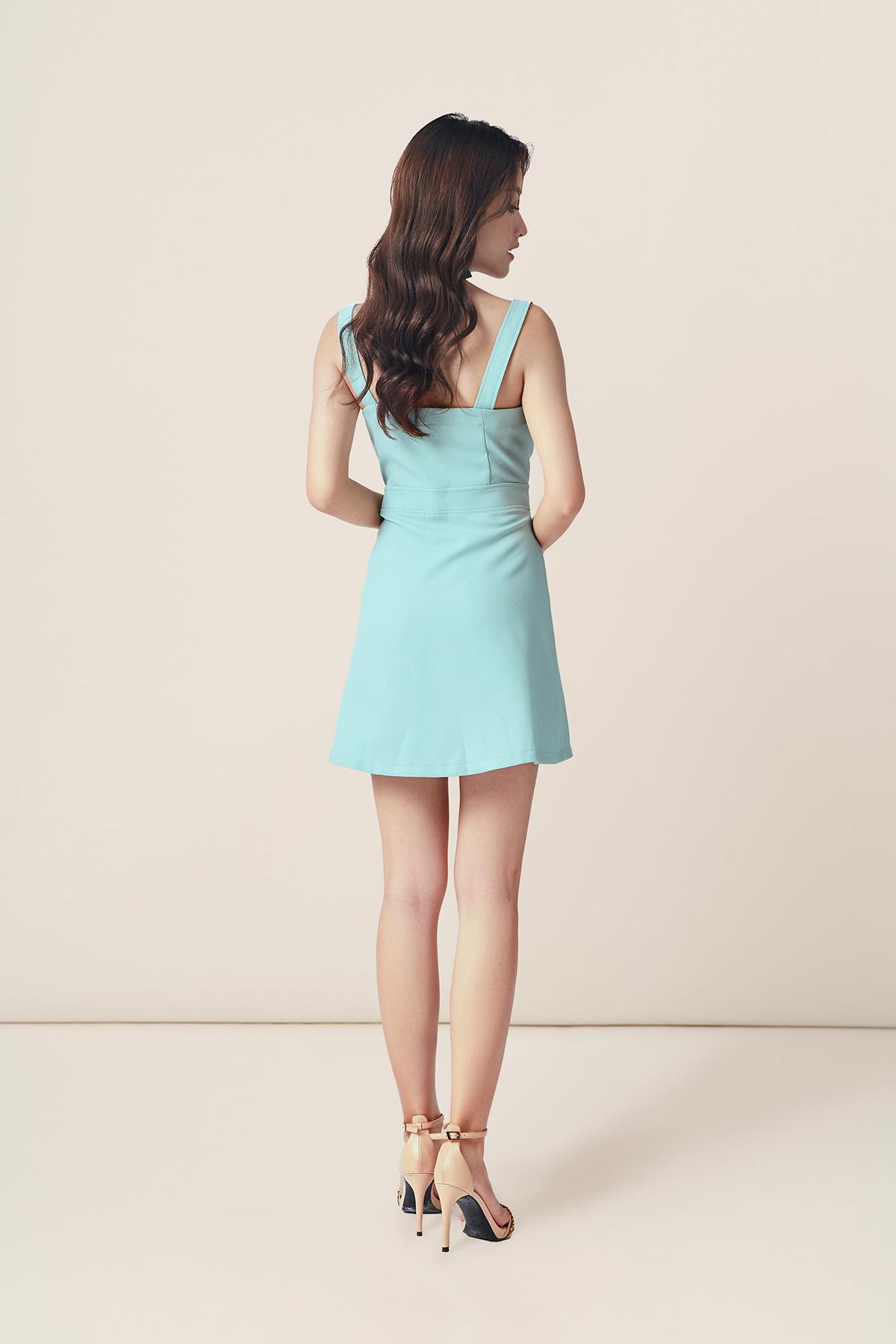 Đầm mint 2 dây gài nút cổ V - Mint Maivy Dress