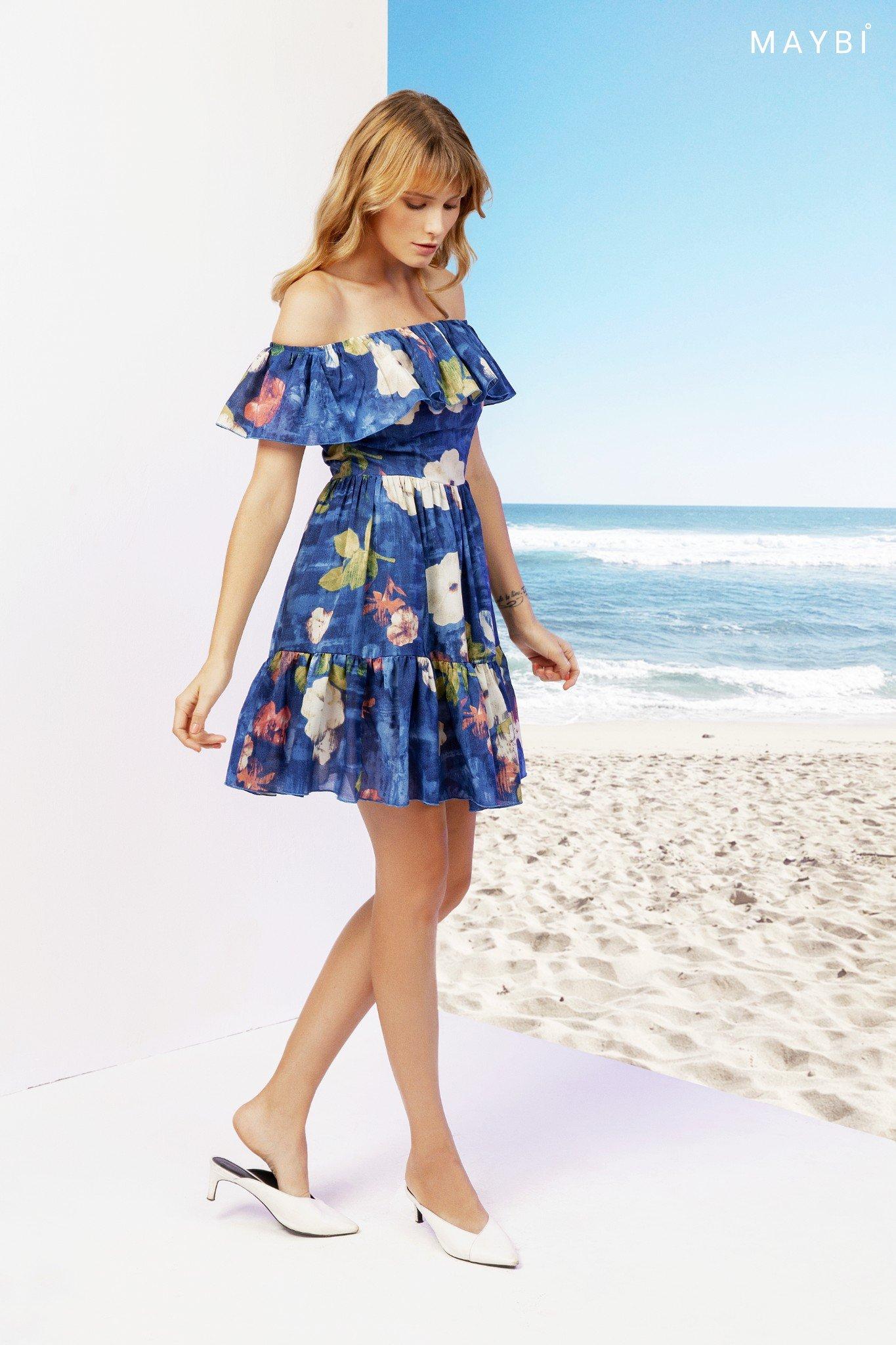 Đầm Trễ Vai Xanh- Periwinkle Dress
