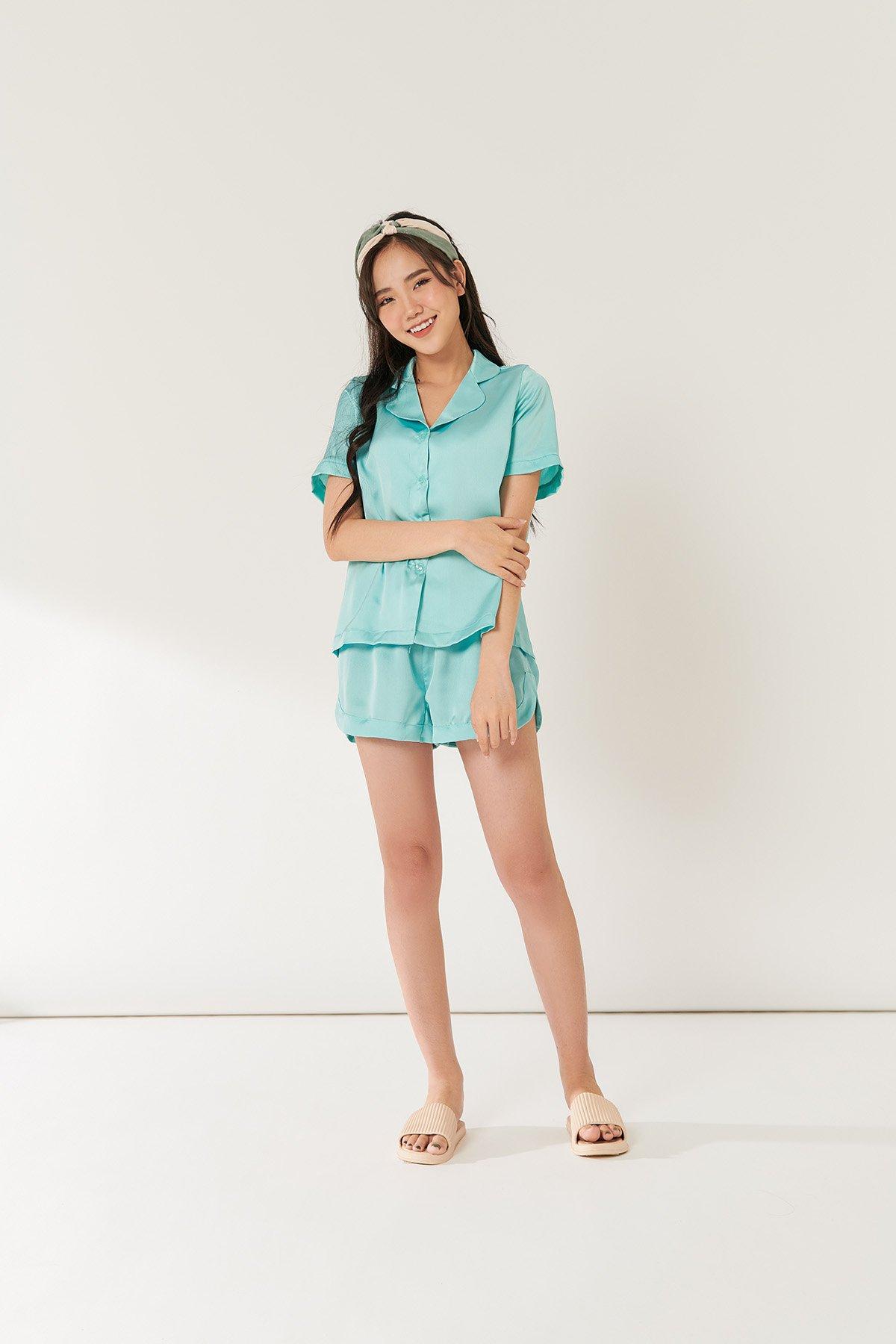 Bộ Pyjama xanh ngọc - Turquoise short sleeves pyjama