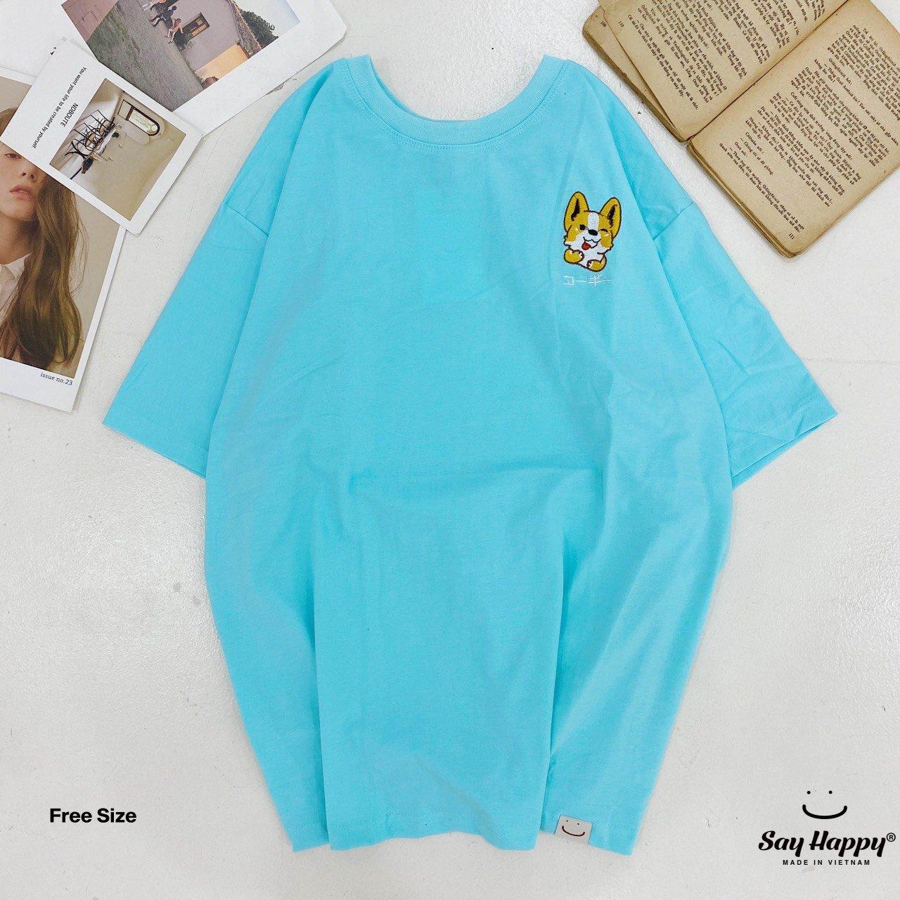 Say Happy Tshirt - Áo thun xanh dương freesize thêu