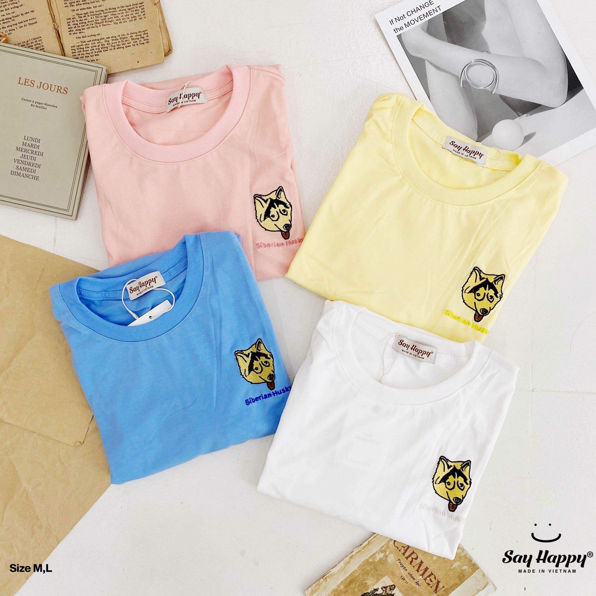Say Happy Tshirt - Áo thun trắng form medium thêu