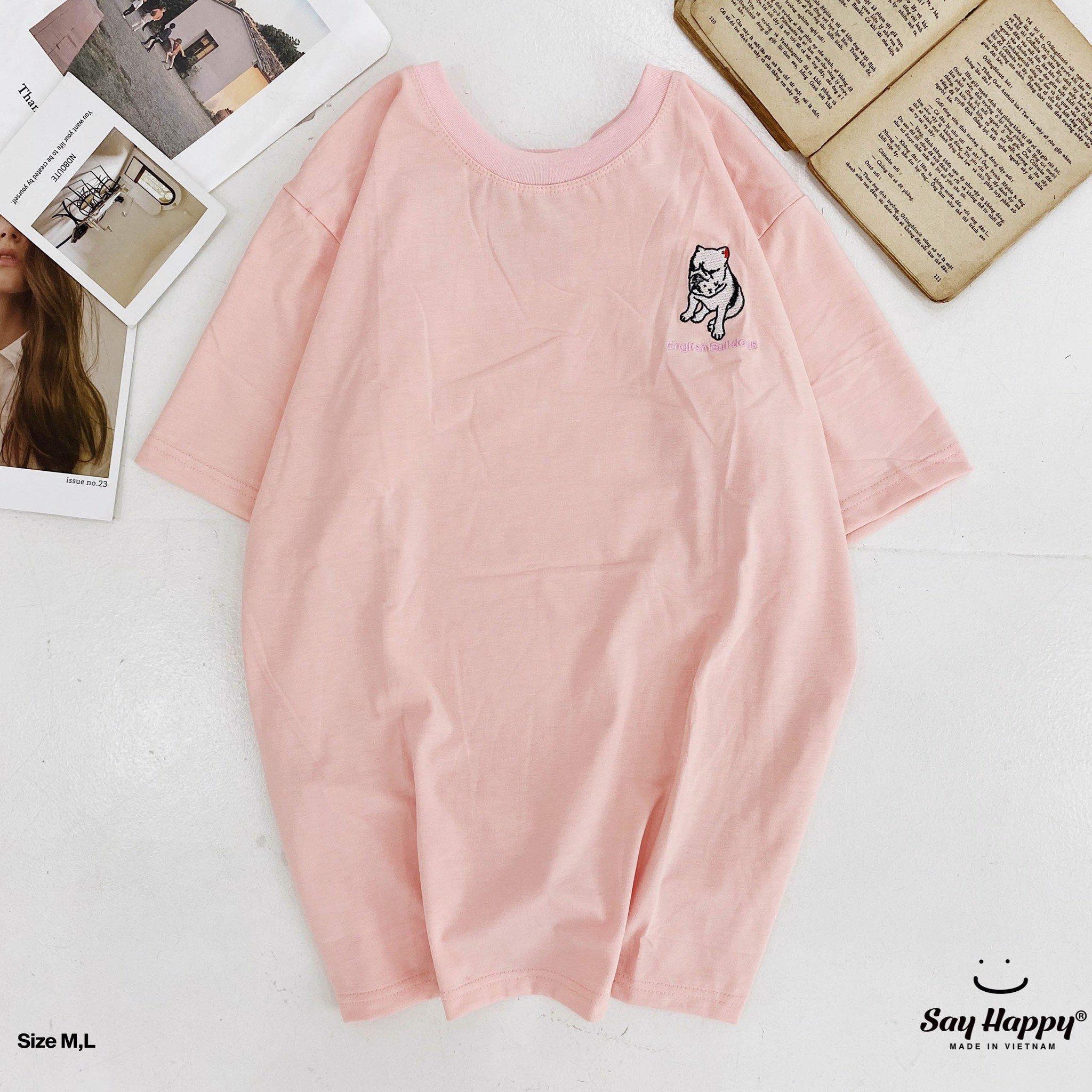 Say Happy Tshirt - Áo thun hồng form medium thêu