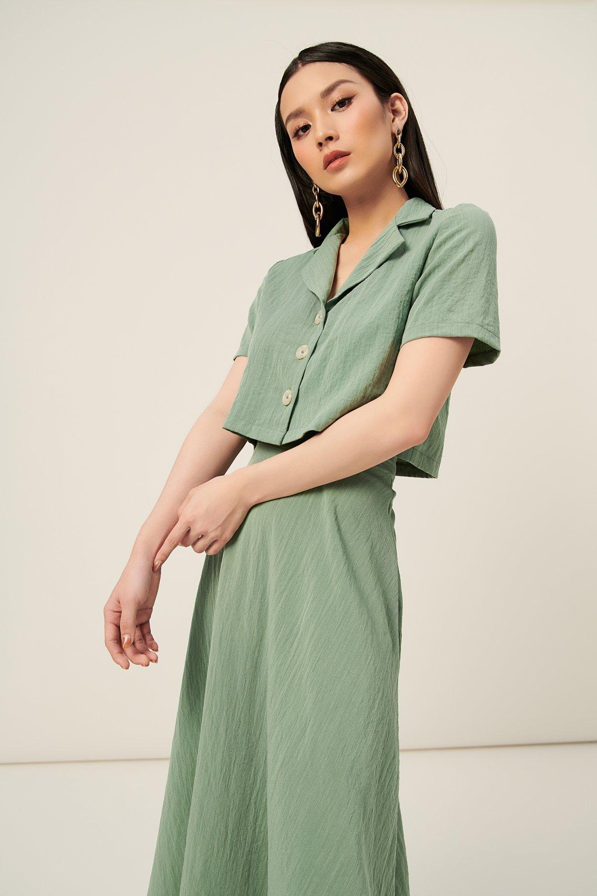 Bộ linen cổ danton - Fern Olive Two-piece outfit