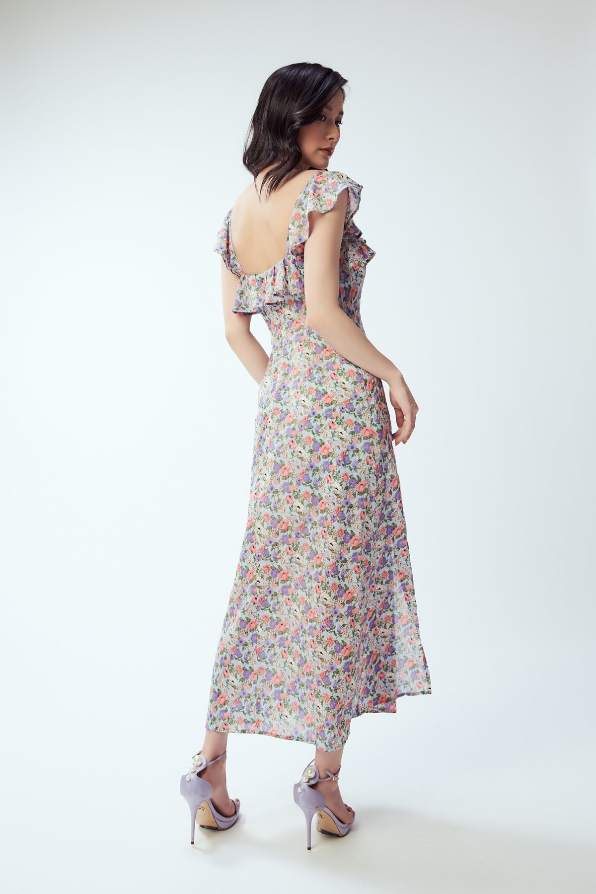 Đầm hoa xẻ tà - Retro floral dress