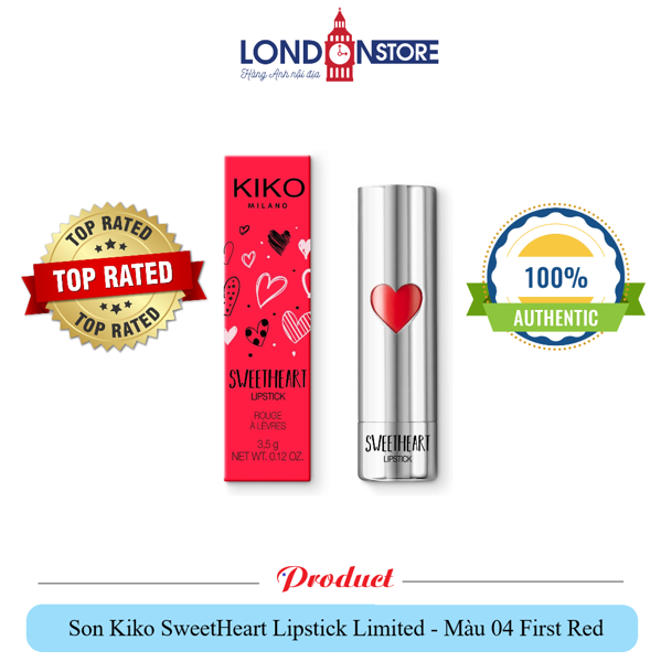 Son Kiko SweetHeart Lipstick Limited - Màu 04 First Red
