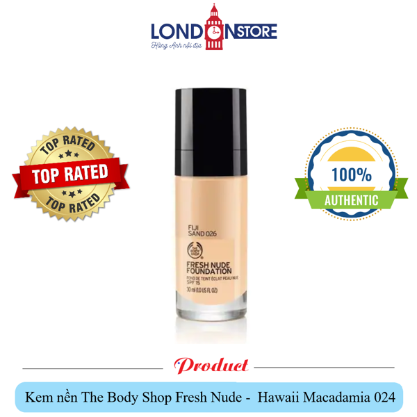 Kem nền The Body Shop Fresh Nude Foundation màu Hawaii Macadamia 024 SPF 15