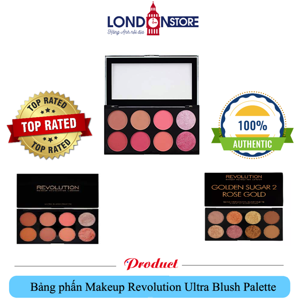 Bảng 3in1 phấn má/highlight/tạo khối Makeup Revolution Ultra Blush Palette