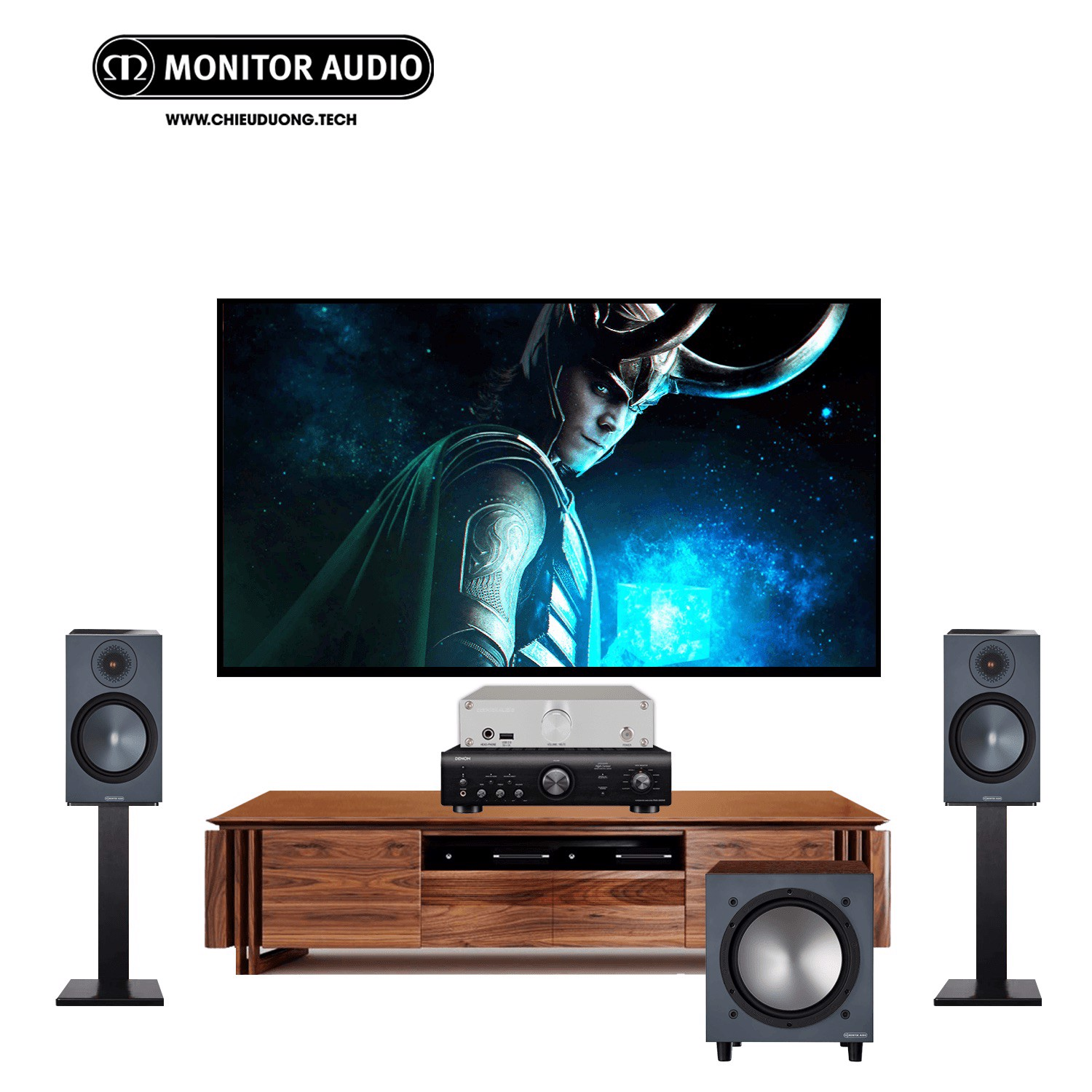 Dàn âm thanh : Cocktail Audio N15D Silver, Ampli Denon PMA-600NE, Loa bookshelf Monitor Audio Bronze 100 và Loa Subwoofer Monitor Audio Bronze W10