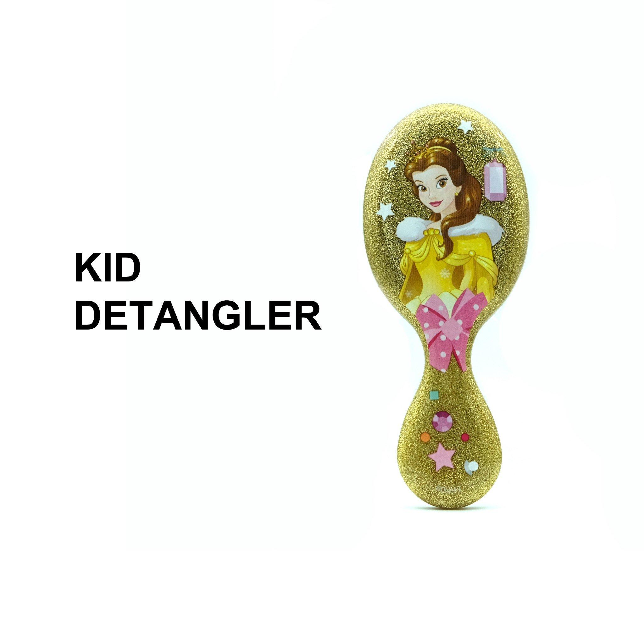 Lược chải tóc WB Mini Detangler-Disney Glitter Ball- Belle-Yellow