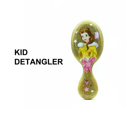 Lược chải tóc WB Mini Detangler-Disney Glitter Ball- Belle-Yellow