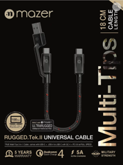 Multi-Tips Rugged.Tek.II 18CM USB-A+USB-C to USB-C Cable