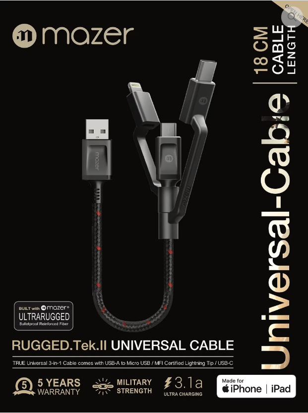 Multi-Tips Rugged.Tek.II 18CM USB to Lightning+Micro USB+USB-C Cable