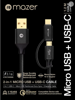 Mazer 2-in-1 USB-C + Micro-USB 3.1A Fast Charging Cable-1.2M