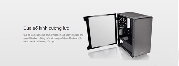 Vỏ case Micro S100 Tempered Glass Black Thermaltake-Tặng Fan