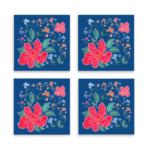 Set đế lót ly - xanh - (Cheerful Blossoms)