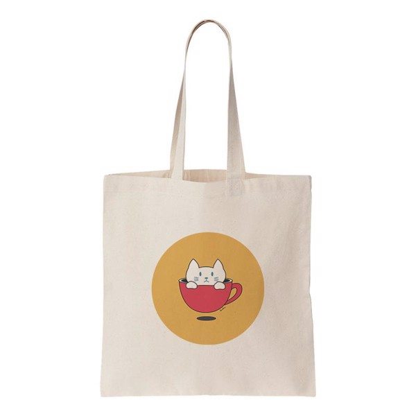 Tote Bag - Bossy Kitty in Cup - (Bossy Kitty)
