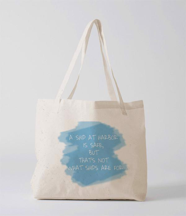 Tote Bag - A ship at harbour