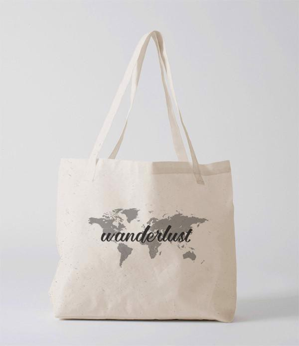 Tote Bag - Worldmap (grayscale)- (Wanderlust)