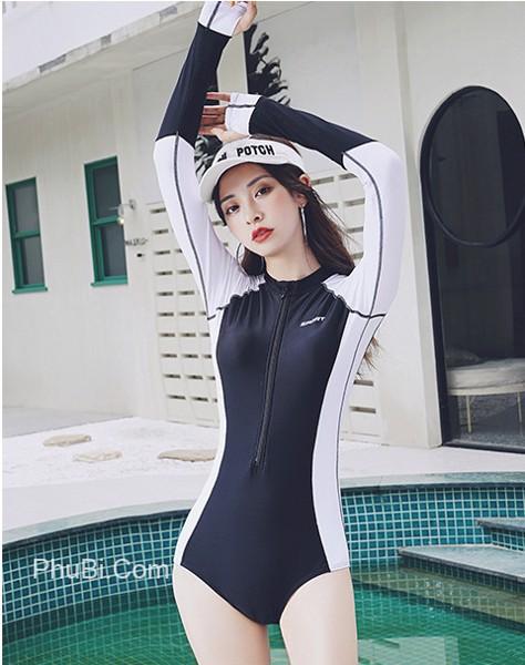 Đồ bơi nữ tay dài chống nắng lai váy Hàn Quốc