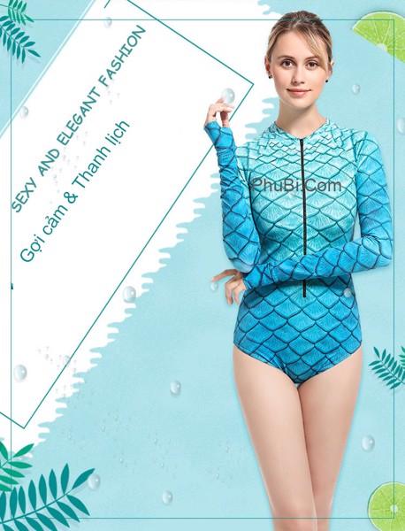 Đồ bơi bikini vây cá màu xanh