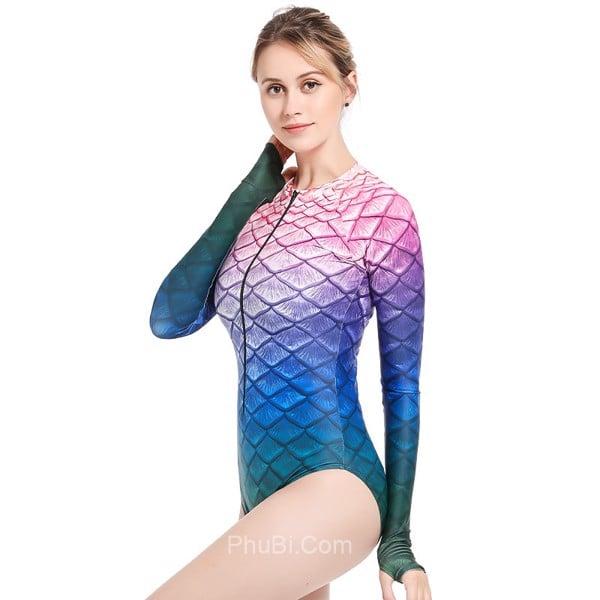 Bikini dài tay vây cá 3D màu tím hồng