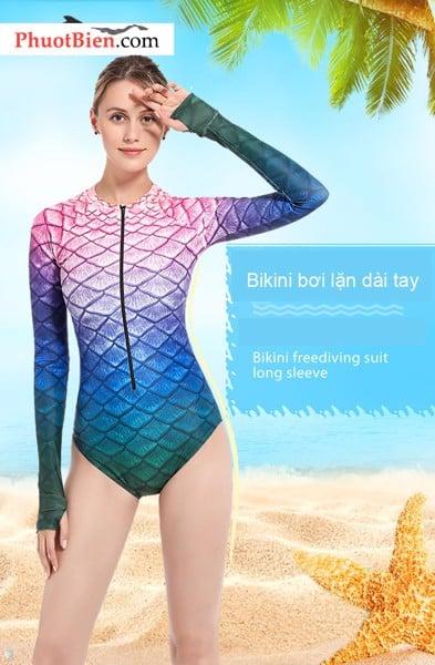 Bikini dài tay vây cá đổi màu hồng tím