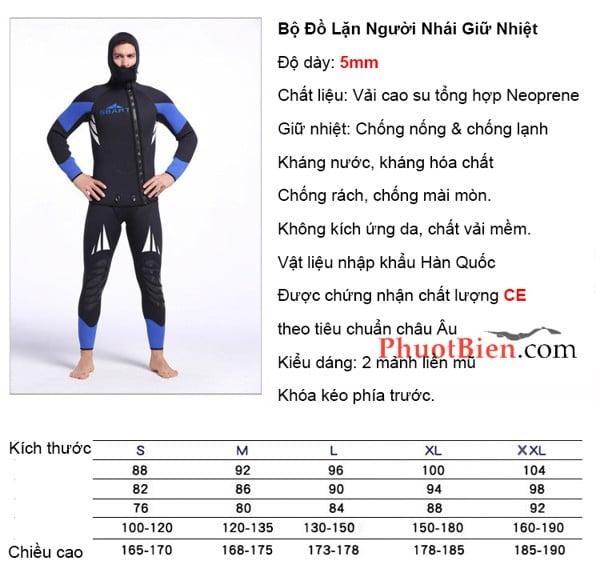 Bộ đồ lặn người nhái chống lạnh wetsuit 5mm