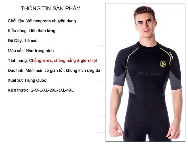 Quần áo bơi lặn giữ nhiệt wetsuit nam.