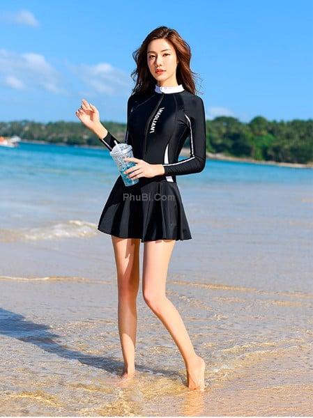 Đồ Bơi Nữ Dạng Váy Tay Dài Liền Thân