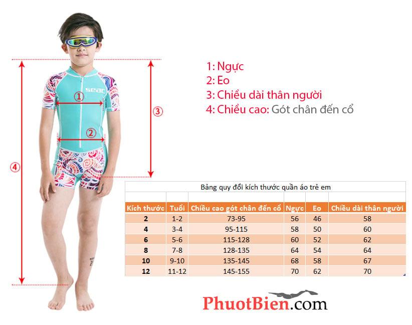 Bảng quy đổi kích thước quần áo trẻ em