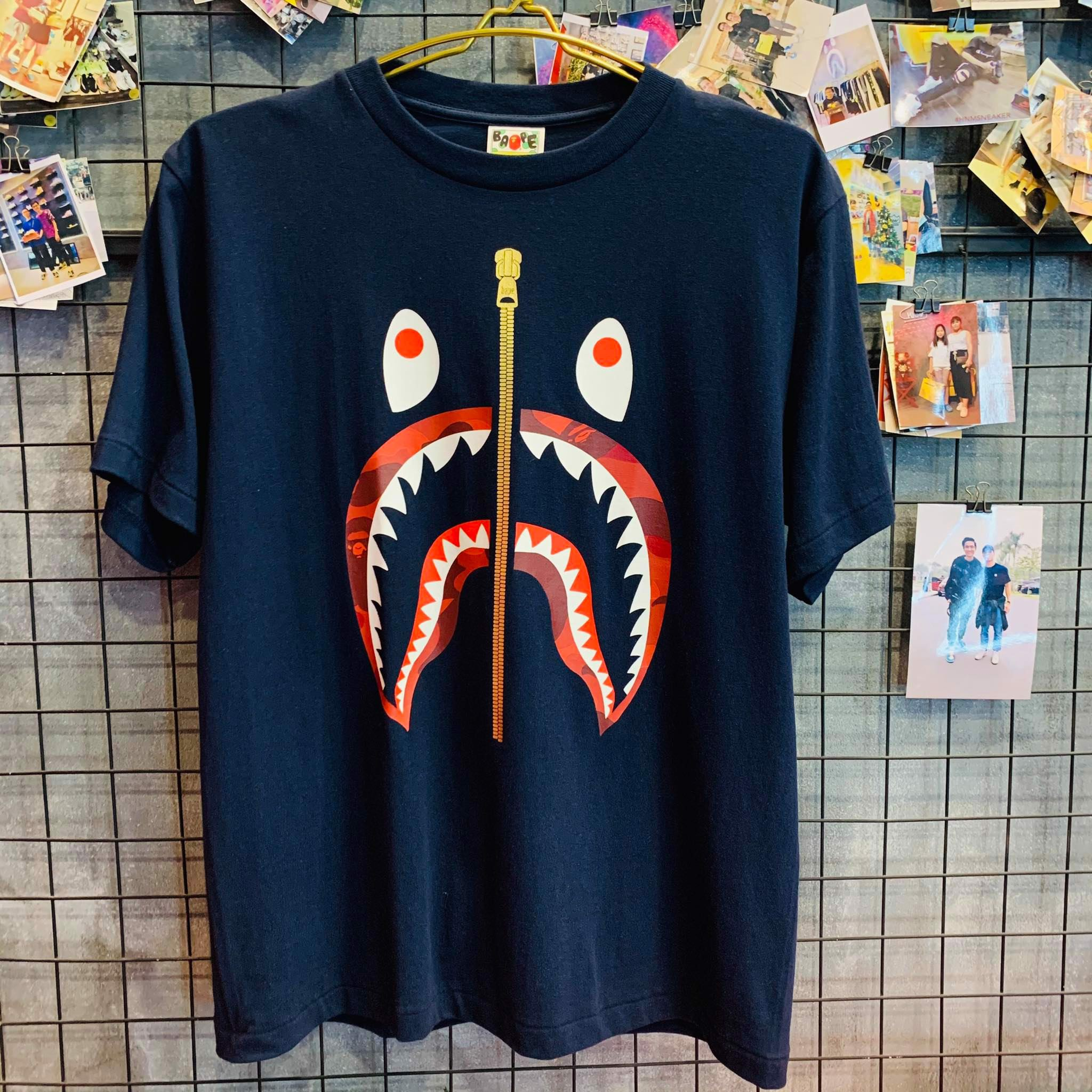 Tee Bape Shark Red Navy