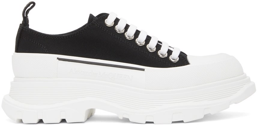 Black & White Tread Slick Platform Low Sneakers