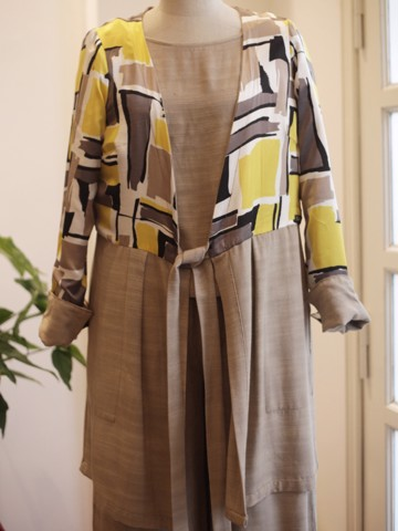 RAW SILK with Cotton /SILK Coat Reversable Style