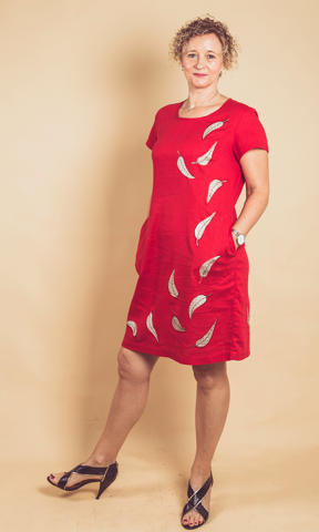 Dress with Embroided  Leaves