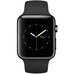 Apple Watch 42mm Space Black Stainless Steel Case - Black Sport Band (MLC82)