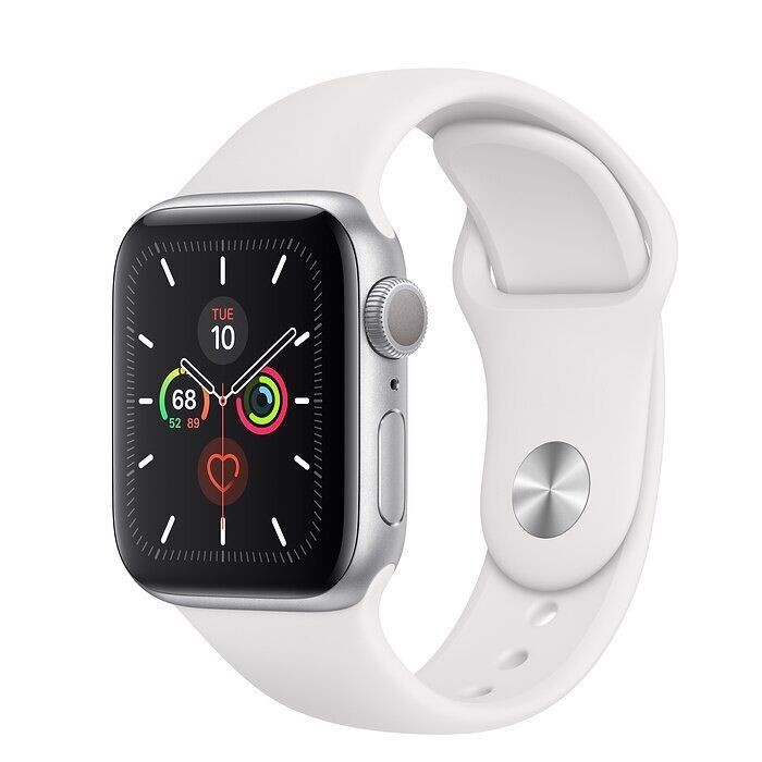 Apple Watch Series 5 44mm Silver Aluminium Case With White Sport Band ( GPS ) - MWVD2