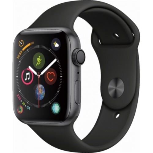 Apple Watch Series 4 44mm Space Gray Aluminum Case With Black Sport Band (GPS) MU6D2