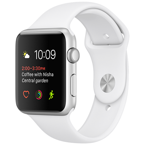 Apple Watch 2 42mm Silver Aluminum Case Sport - White (MNPJ2)
