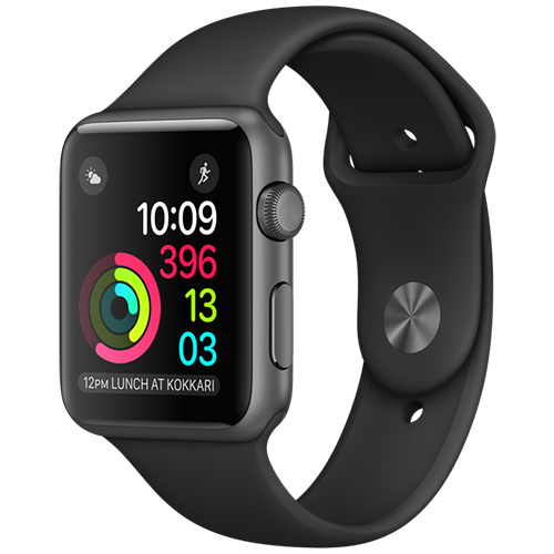Apple Watch 2 42mm Space Gray Aluminum Case Sport - Black (MP062)