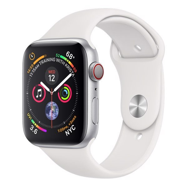 Apple Watch Series 4 44mm Silver Aluminum Case With White Sport Band (LTE) - New 99%
