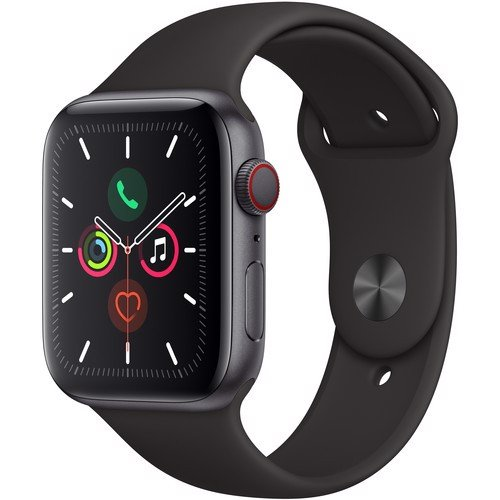 Apple Watch Series 5 (GPS+CELLULAR) Space Grey Aluminium Case with Black Sport Band 44mm