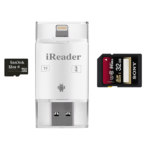 Đầu đọc thẻ nhớ iReader OTG 3 in 1 cho iPhone & Android Phone